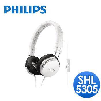 PHILIPS 飛利浦 頭戴式耳機麥克風 SHL5305(經典白)