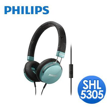 PHILIPS 飛利浦 頭戴式耳機麥克風 SHL5305(清爽綠)