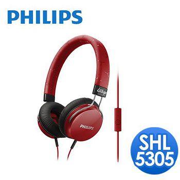 PHILIPS 飛利浦 頭戴式耳機麥克風 SHL5305(熱情紅)