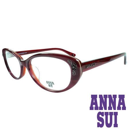 ANNA SUI 金屬時尚水鑽薔薇造型眼鏡(復古紅)AS622-209