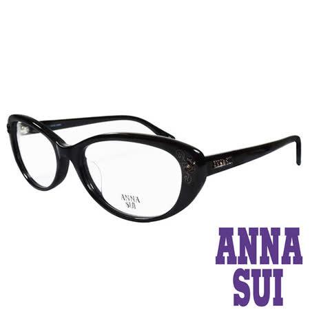 ANNA SUI 金屬時尚水鑽薔薇造型眼鏡(黑)AS622-001
