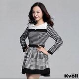 【KVOLL大尺碼】黑色千鳥格紋拼接連衣裙