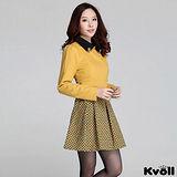 【KVOLL大尺碼】黃色拼接印花毛呢連衣裙