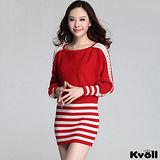【KVOLL大尺碼】紅色條紋蝙蝠袖針織包臀連衣裙