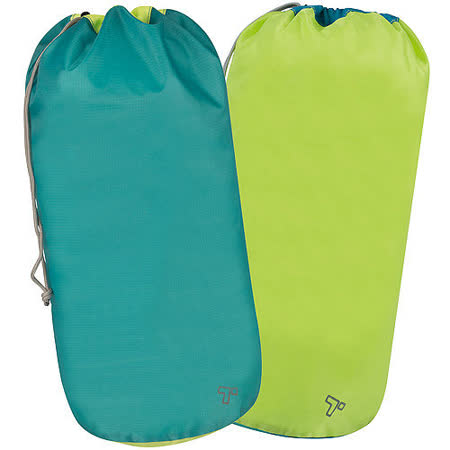 《TRAVELON》防水抽繩收納袋2入(藍綠)