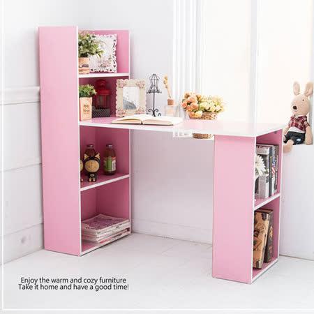 清新雙向機能型4+2書櫃書桌