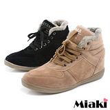 (現貨+預購)【Miaki】日雜強打毛線拼接內增高短靴雪靴 (黑色/卡其)