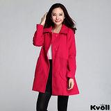 【KVOLL大尺碼】紅色翻領斗篷毛呢大衣外套
