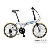 【SAMBAR】20吋24速 451輪組鋁合金摺疊車 自行車 (時尚白) SB-03