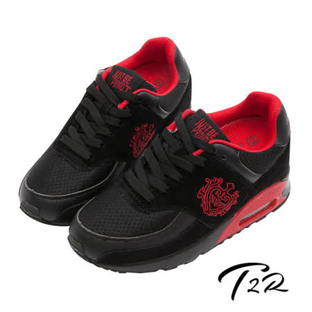 【韓國T2R】韓劇情侶熱銷款 9公分雙氣墊隱形增高休閒鞋 黑紅(5600-0177)