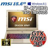 msi微星 GS60 2QE 四代I7 15.6吋 3G獨顯 Win8.1電競筆電(璀璨金)