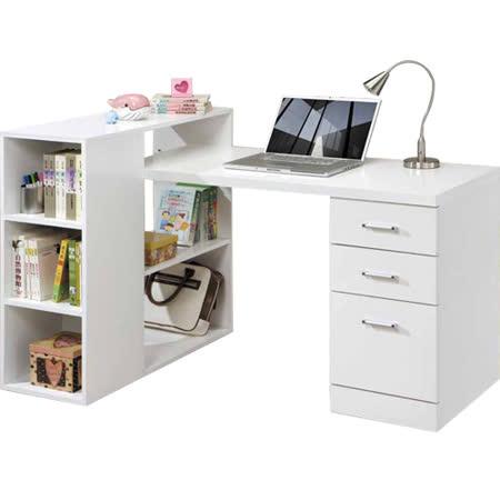 日式量販 多功能設計書架型組合式白色書桌