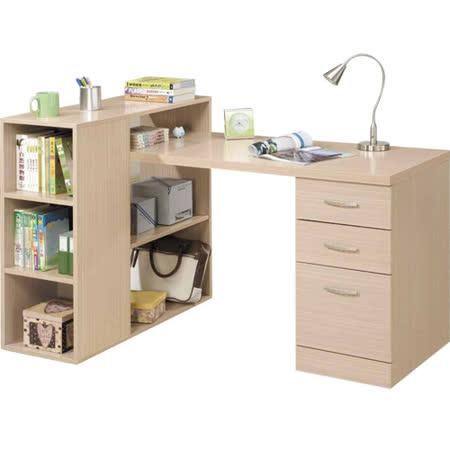 日式量販 多功能設計書架型組合式白橡色書桌