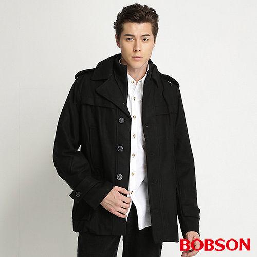 BOBSON 男款雙門襟毛呢外套^(黑32048~88^)