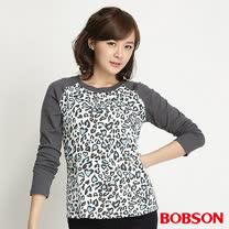 BOBSON 女款豹紋拼接色長袖上衣(灰32079-01)