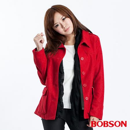 BOBSON 女款翻領毛呢外套(紅32105-13)