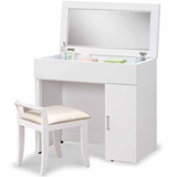 日式量販 現代簡約2.7尺白色掀式鏡台(含椅)