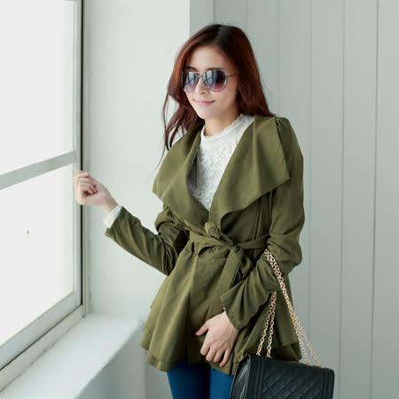 【S.Girl】大翻領時尚造型風衣外套-軍綠