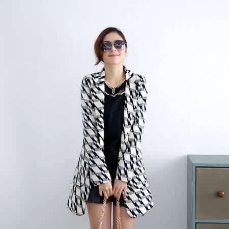 【S.Girl】花紋修身造型西裝外套-白