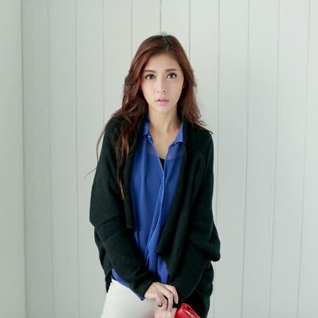 【S.Girl】素色飛鼠袖開襟式罩衫-黑