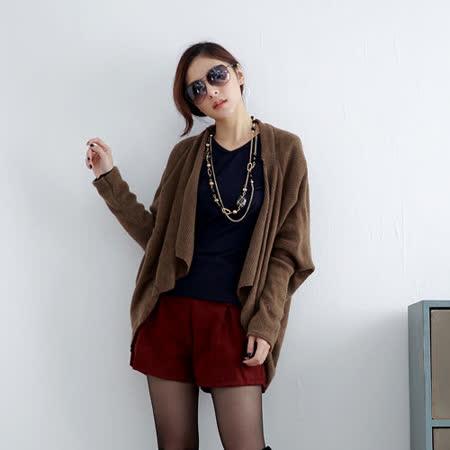 【S.Girl】素色飛鼠袖開襟式罩衫-棕
