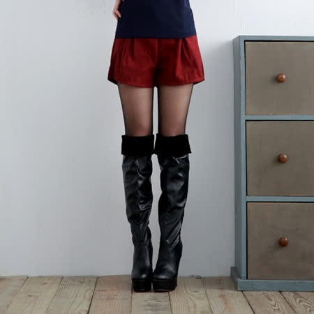 【S.Girl】甜美百搭造型毛呢短褲-暗紅