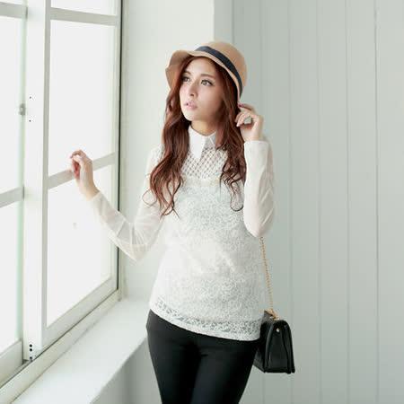 【S.Girl】氣質名媛波浪珍珠造型上衣-白