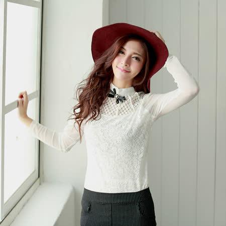 【S.Girl】氣質名媛緞帶橢圓胸針蕾絲造型上衣-白