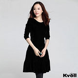 【KVOLL大尺碼】黑色金絲絨拼接長袖連衣裙