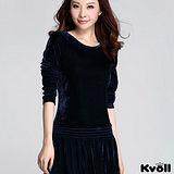 【KVOLL大尺碼】藍色金絲絨拼接長袖連衣裙