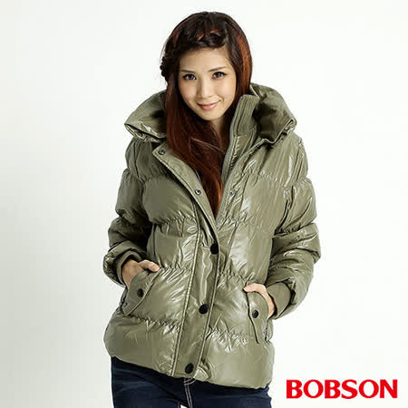 BOBSON 女款大領片羽絨外套(綠31111-48)