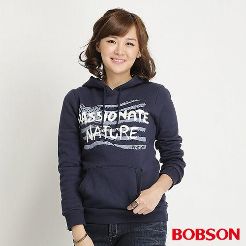 BOBSON 女款內刷毛印圖帽T^(藍31133~53^)
