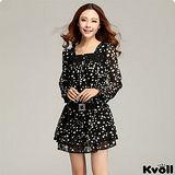 【KVOLL大尺碼】黑底白點點雪紡腰帶扣連衣裙