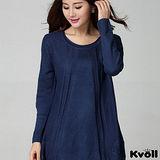 【KVOLL大尺碼】藍色簡約寬版針織長上衣
