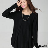 【KVOLL大尺碼】黑色簡約寬版針織長上衣