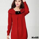 【KVOLL大尺碼】紅色蝴蝶結翻領針織長上衣
