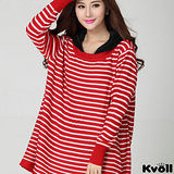 【KVOLL大尺碼】紅色條紋連帽寬版針織上衣