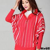 【KVOLL大尺碼】紅色針織條紋蝙蝠袖外套