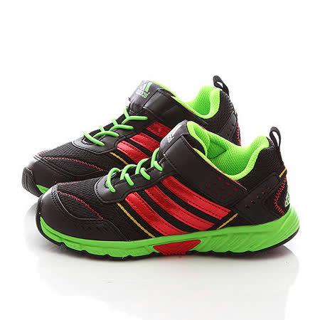 Adidas中大童經典魔鬼氈輕量運動鞋DM20397-黑綠