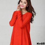 【KVOLL大尺碼】橘紅色寬版針織長上衣