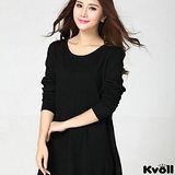 【KVOLL大尺碼】黑色蕾絲網紗寬鬆針織洋裝