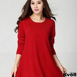 【KVOLL大尺碼】紅色蕾絲網紗寬鬆針織洋裝