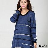 【KVOLL大尺碼】藍色線條海毛針織衫洋裝