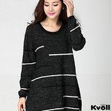 【KVOLL大尺碼】黑色線條海毛針織衫洋裝