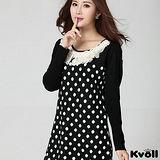 【KVOLL大尺碼】黑色花邊領點點針織洋裝