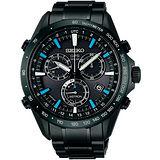 SEIKO ASTRON GPS 衛星校時太陽能計時腕錶(IP黑/45mm) 8X82-0AC0SD