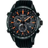 SEIKO ASTRON GPS 衛星校時太陽能計時腕錶(黑+橘指針/45mm) 8X82-0AC0O