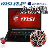msi微星 GT72 2QE i7 混碟 17.3吋 8G獨顯 Win8.1電競筆電