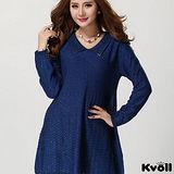 【KVOLL大尺碼】藍色飾扣翻領針織衫