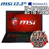 MSI微星 GE70 2PE 17.3吋 i7-4710HQ GTX860M 2G獨顯 Win8.1專業電競筆電